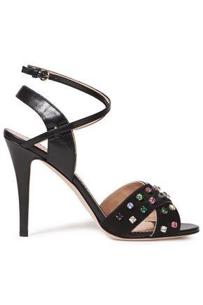 RED(V) Leather and crystal-embellished satin sandals