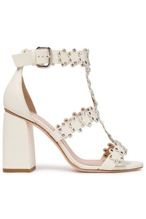 RED(V) Flower Puzzle studded leather sandals