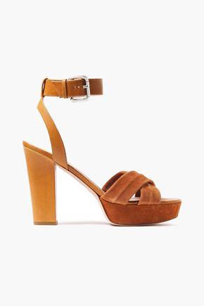 RED(V) Leather and suede platform sandals