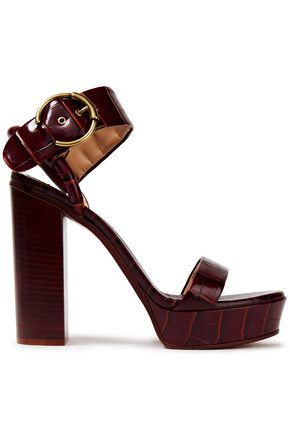 CHLOÉ Croc-effect leather platform sandals