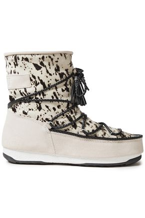 MOON BOOT Printed calf hair and faux suede snow boots