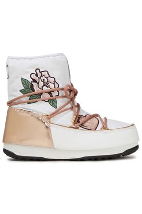 MOON BOOT Appliquéd metallic-trimmed faux leather and shell snow boots