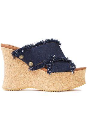 SEE BY CHLOÉ حذاء ميول ويدج بلاتفورم من الدنيم مع حواف منسلة