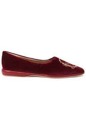 CHLOÉ حذاء باليه من المخمل المصنوع من مزيج القطن المطرز مزين بالجلد