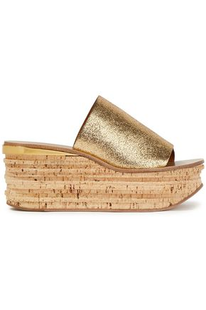 CHLOÉ Metallic cracked-leather wedge mules