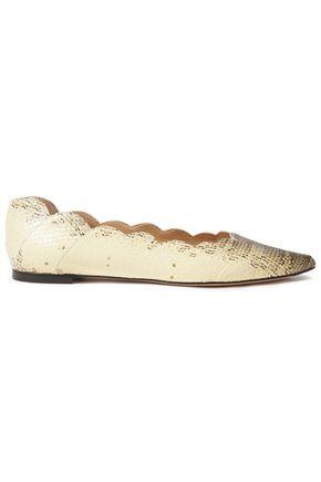 CHLOÉ Scalloped snake-effect leather flats