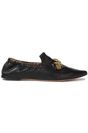 CHLOÉ Chain-embellished leather point-toe flats
