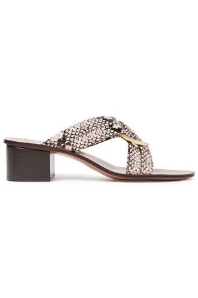 CHLOÉ Rony embellished snake-effect leather mules