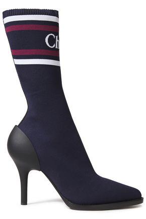 CHLOÉ Rubber-paneled logo-print intarsia modal-blend sock boots