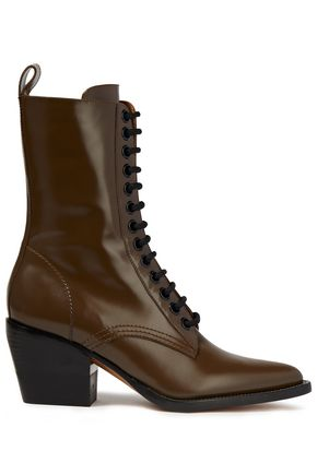 CHLOÉ Glossed-leather ankle boots