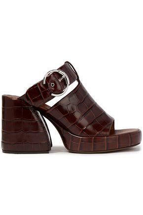 CHLOÉ Cutout faux croc-effect leather platform mules