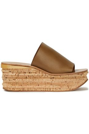 CHLOÉ Metallic-trimmed leather wedge mules