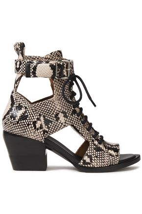 CHLOÉ Cutout snake-effect leather ankle boots