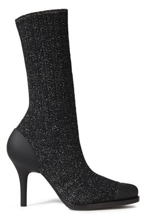 CHLOÉ Monogram-trimmed metallic modal sock boots