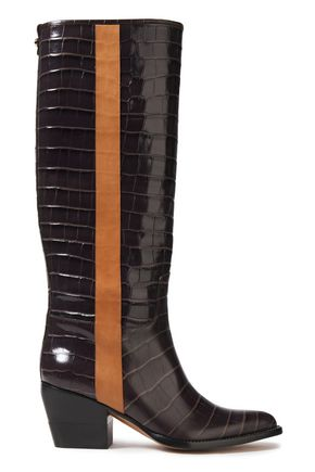 CHLOÉ Vinny croc-effect leather knee boots
