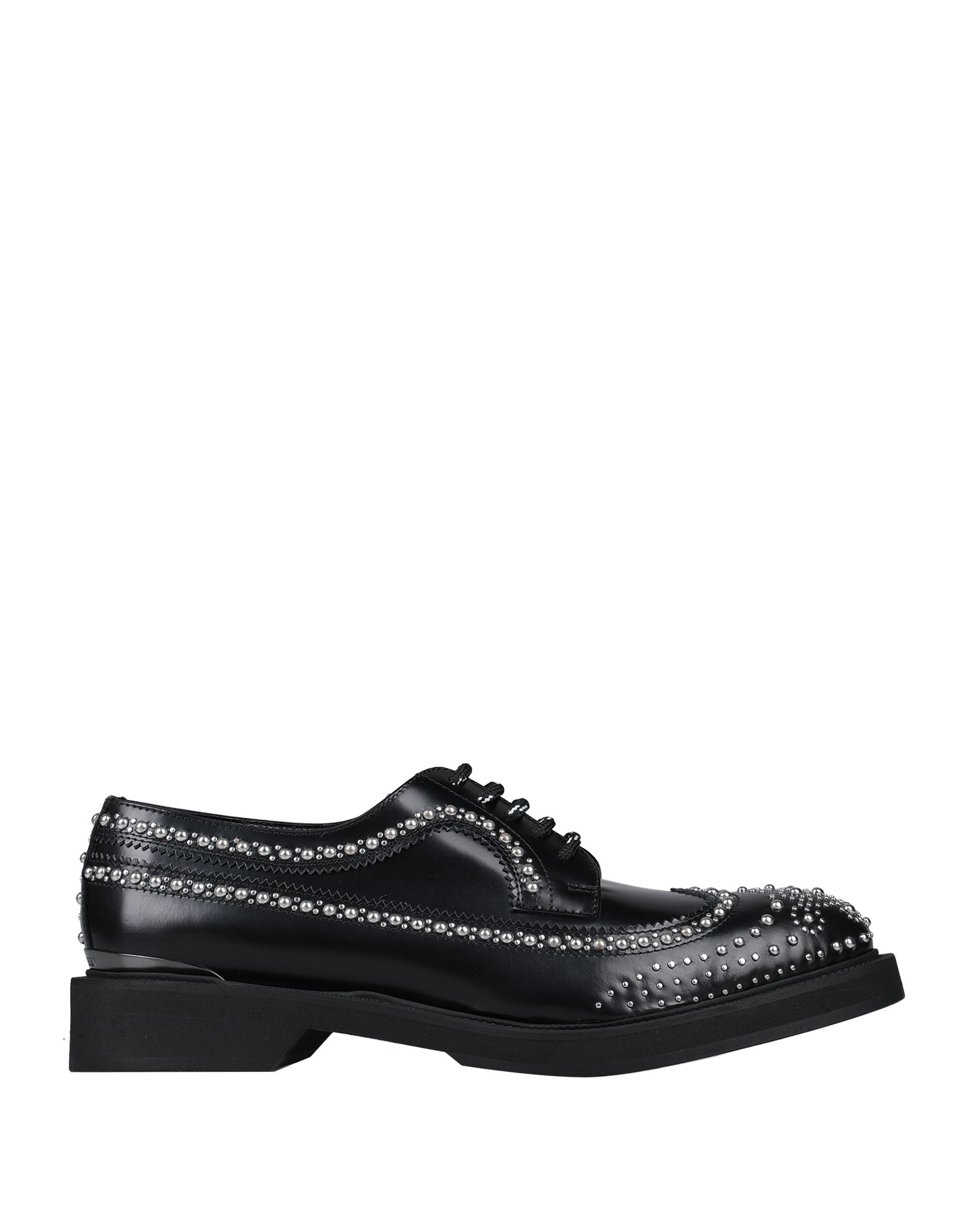 ALEXANDER MCQUEEN Lace-up shoes. studs, logo, solid color, round toeline, square heel, rubber heel, leather lining, rubber sole, contains non-textile parts of animal origin, small sized. Soft Leather