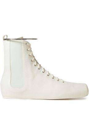 JIL SANDER Gathered leather ankle boots