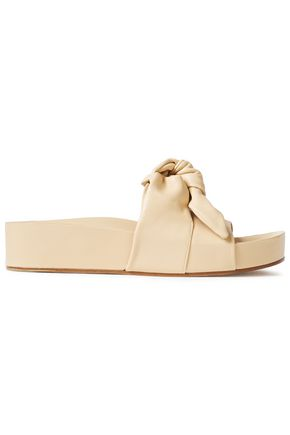 JIL SANDER Knotted leather platform slides