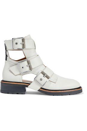 RAG & BONE حذاء بوت إلى الكاحل من الجلد بأجزاء مقصوصة ومزوّد بإبزيم