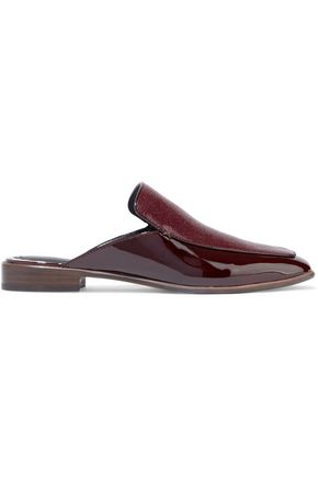 RAG & BONE Aslen stingray-effect and patent-leather slippers