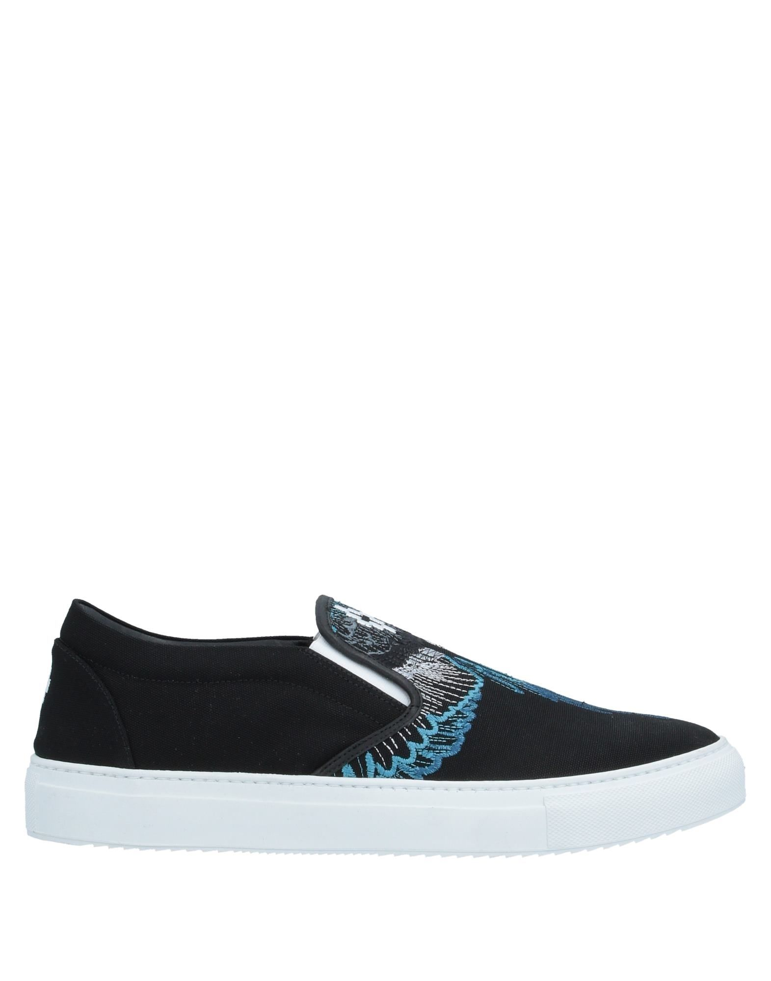 MARCELO BURLON Sneakers. canvas, embroidered detailing, logo, solid color, round toeline, flat, leather lining, rubber sole, contains non-textile parts of animal origin. Textile fibers