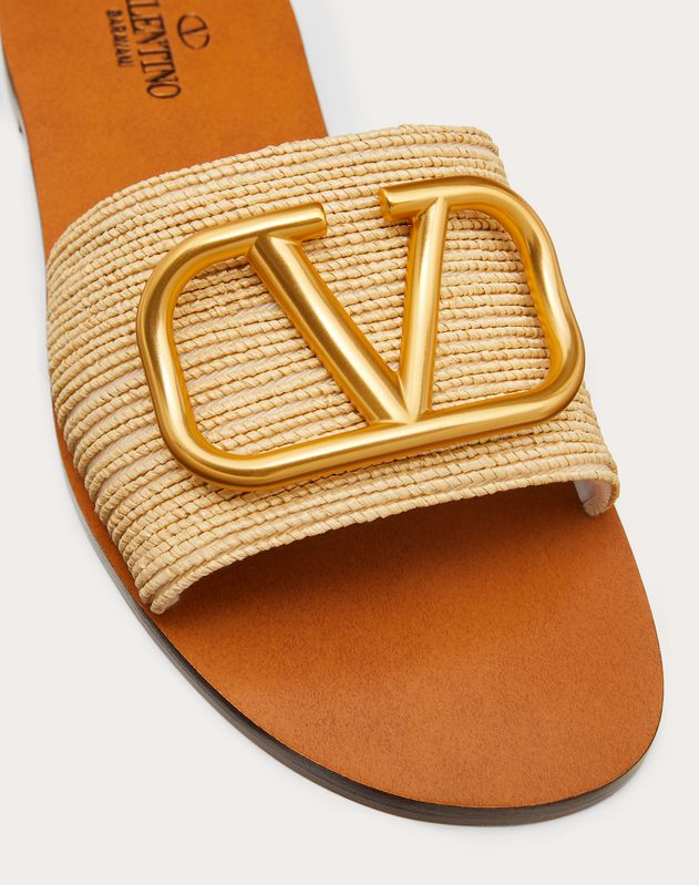 Raffia slide sandal with VLOGO detail