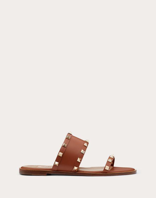 Rockstud flat calfskin slide sandal
