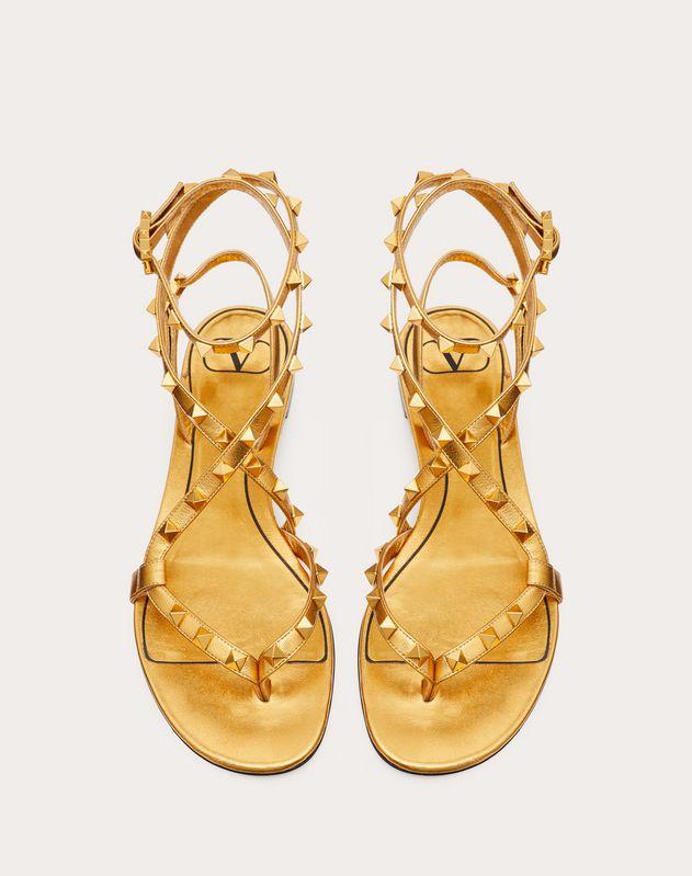 Rockstud Flair flat metallic nappa flip-flop sandal