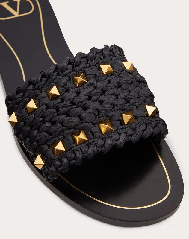 Rockstud Flair raffia flat slide sandal