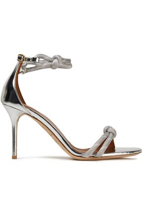 MALONE SOULIERS Filipa knotted woven-trimmed metallic leather sandals