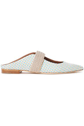 MALONE SOULIERS Mara braided cord and woven raffia mules