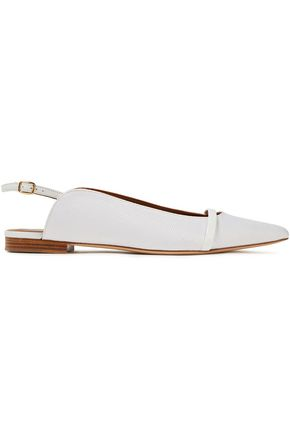 MALONE SOULIERS Marion cutout patent leather-trimmed raffia slippers
