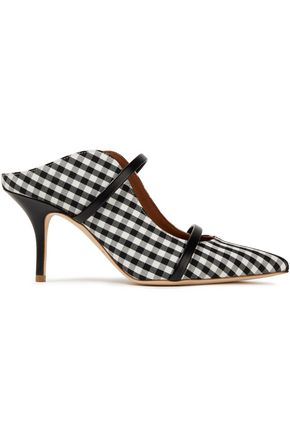 MALONE SOULIERS Maureen 70 leather-trimmed gingham canvas mules