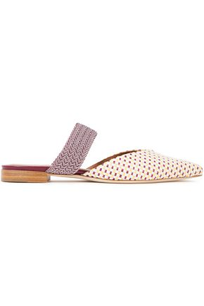 MALONE SOULIERS Maisie braided cord and woven raffia mules