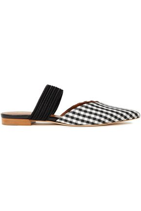 MALONE SOULIERS Maisie braid-trimmed gingham woven slippers