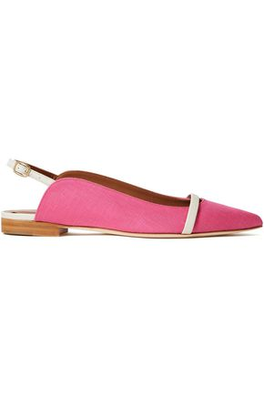 MALONE SOULIERS Marion leather-trimmed linen slingback point-toe flats