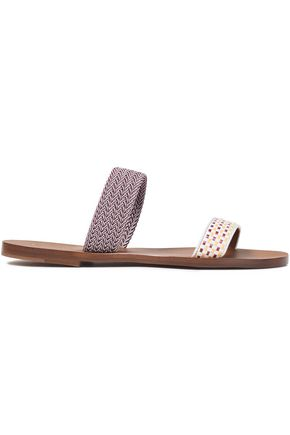 MALONE SOULIERS Woven raffia and braided slides