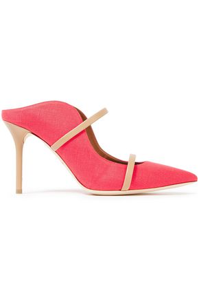 MALONE SOULIERS Maureen leather-trimmed two-tone linen mules