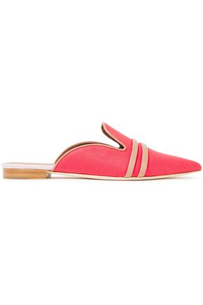 MALONE SOULIERS Hermione leather-trimmed linen slippers