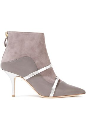MALONE SOULIERS Madison metallic-trimmed leather and suede ankle boots