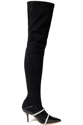 MALONE SOULIERS Madison leather-paneled metallic-trimmed suede over-the-knee boots