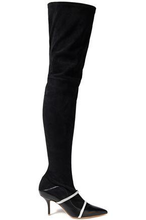 """MALONE SOULIERS حذاء بوت لأعلى الركبة """"ماديسون"""" من الشامواه مزخرف بلون ميتاليك مع أجزاء من الجلد"""