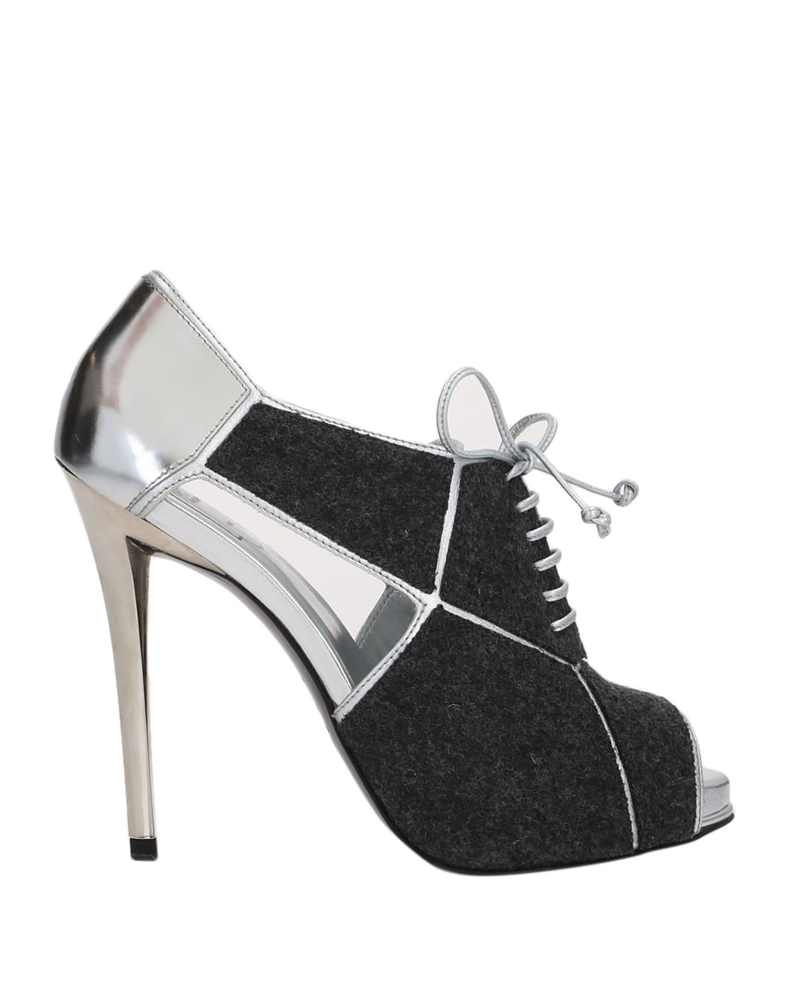 ROGER VIVIER Lace-up shoes. laminated effect, flannel, no appliqués, two-tone, open toe, spike heel, leather lining, leather sole, contains non-textile parts of animal origin. Soft Leather, Textile fibers