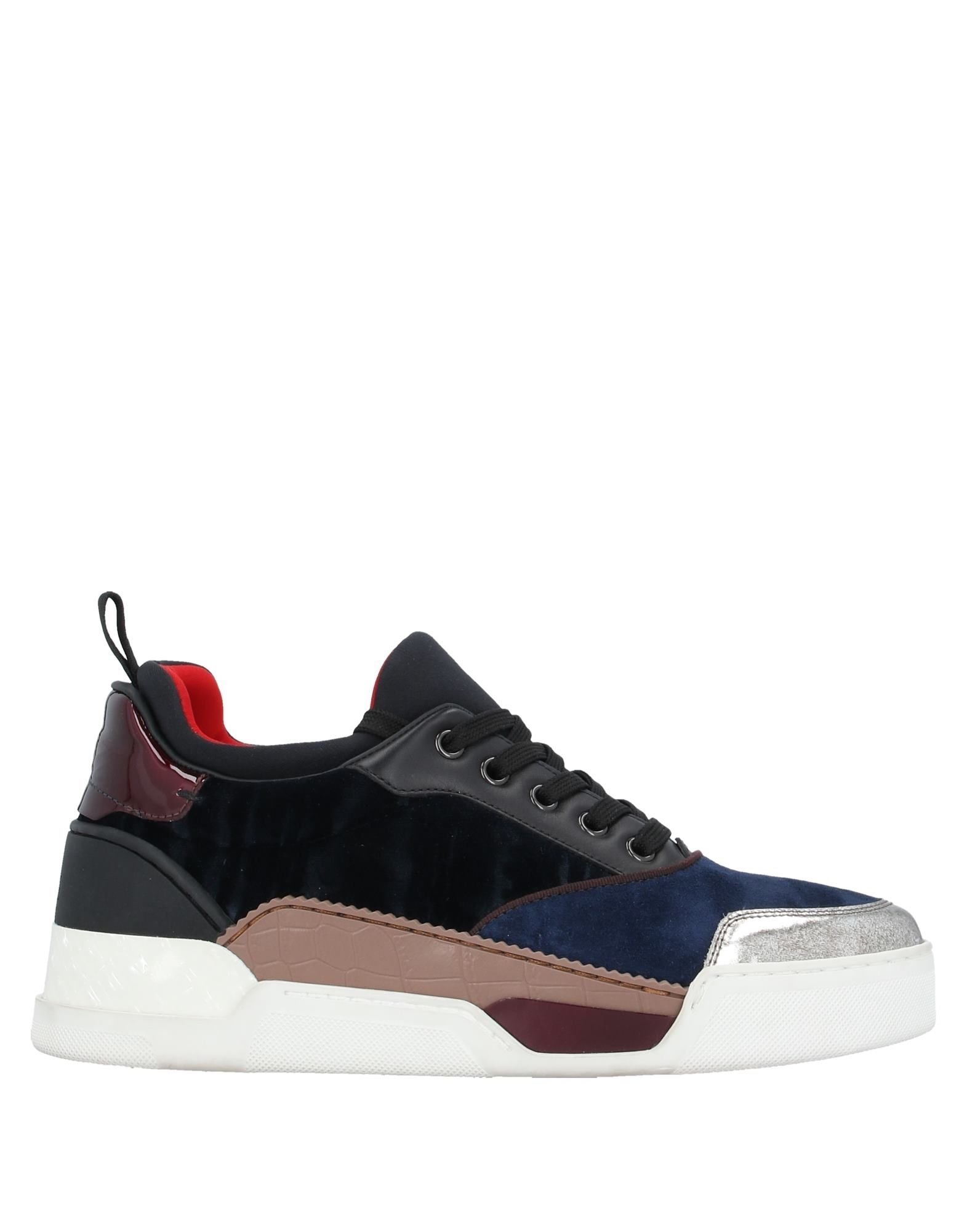 CHRISTIAN LOUBOUTIN Sneakers. laminated effect, velvet, no appliqués, multicolor pattern, laces, round toeline, flat, leather lining, rubber sole, contains non-textile parts of animal origin. Soft Leather, Textile fibers