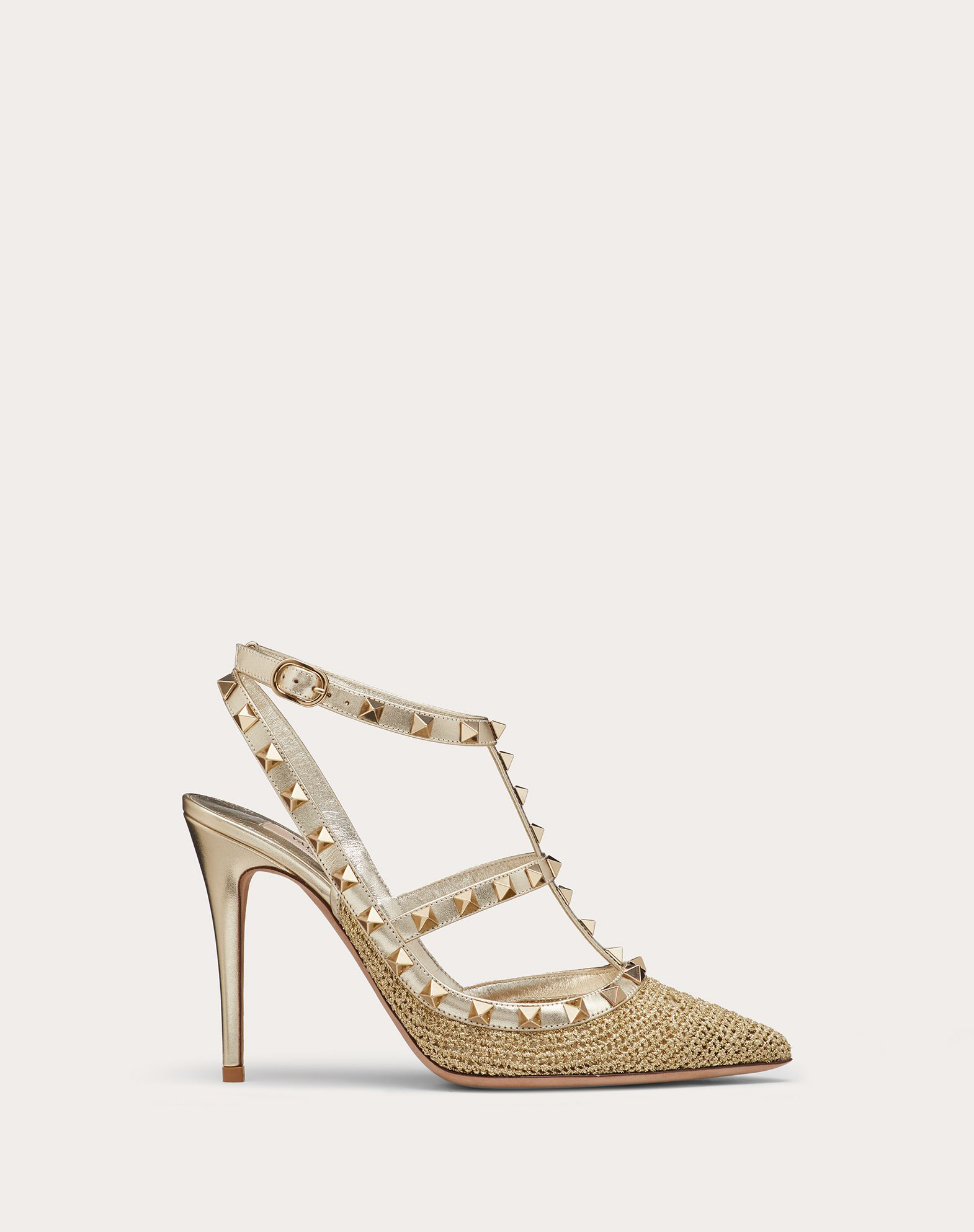 Rockstud lurex crochet ankle strap pump 100 mm