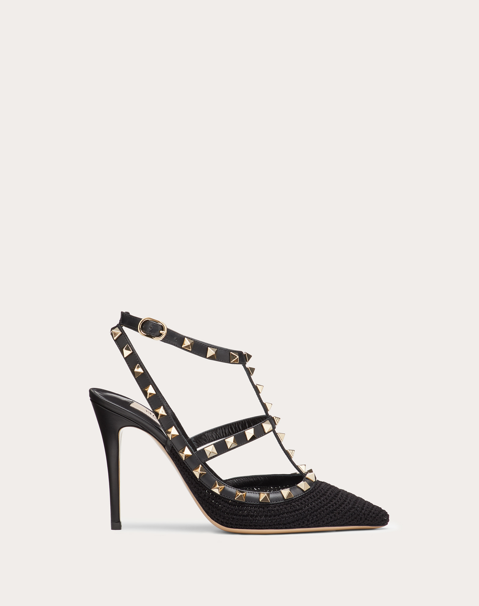 Rockstud crochet ankle strap pump 100 mm