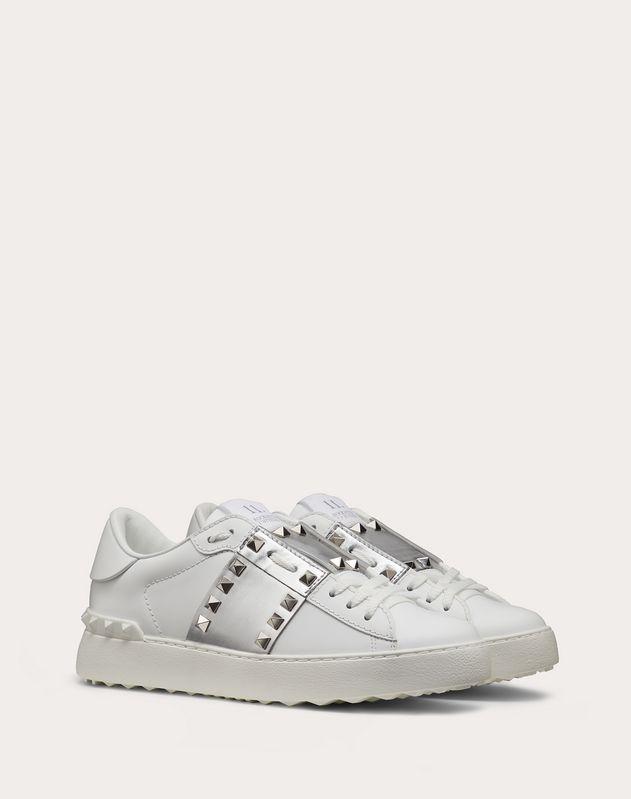 Rockstud Untitled Sneaker in Calfskin Leather with Metallic Stripe