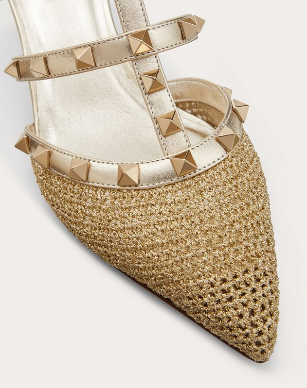 Rockstud lurex crochet mule 50 mm