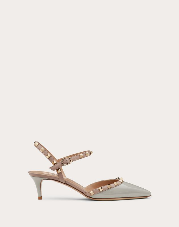 Rockstud patent leather ankle strap slingback pump 50 mm