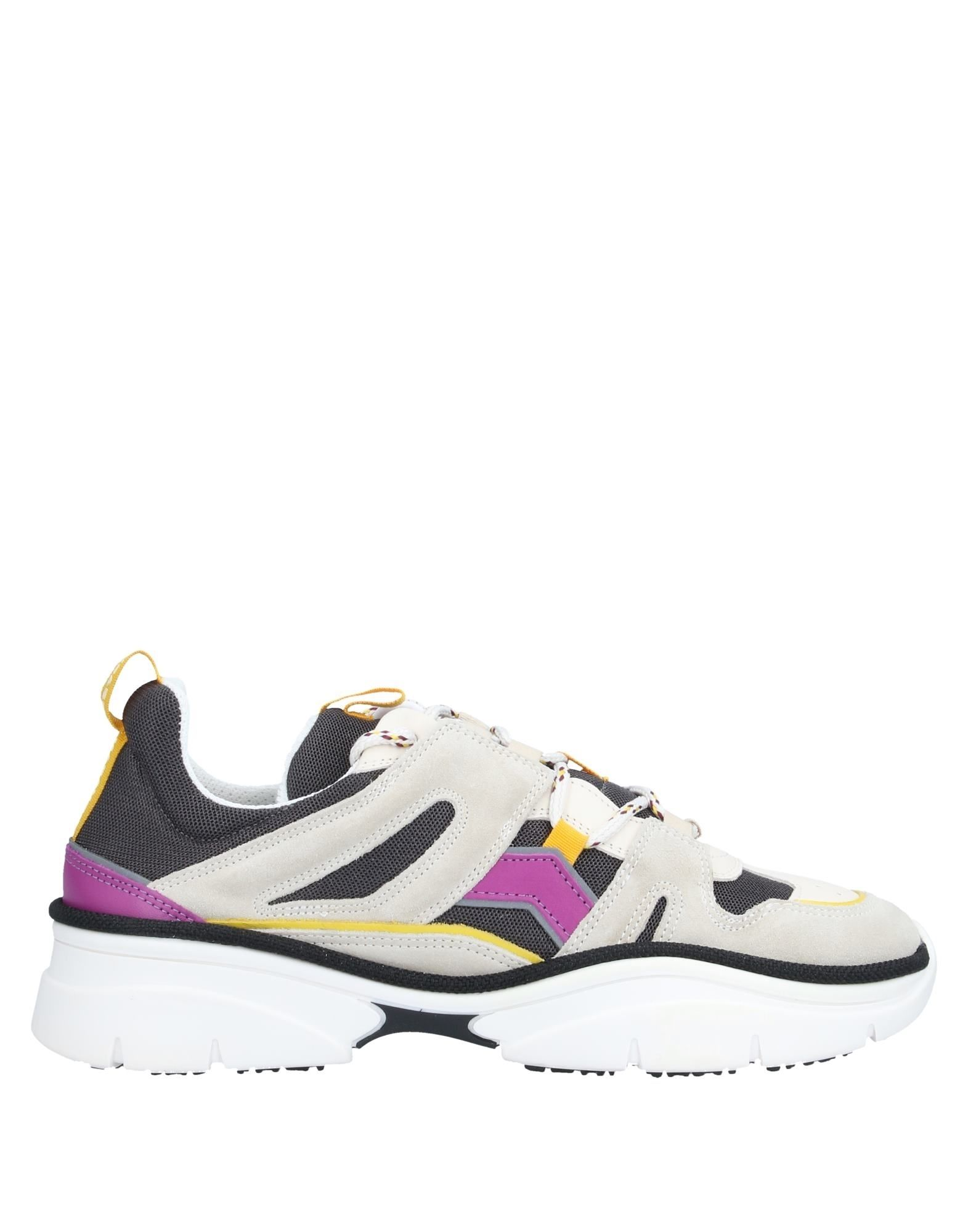 ISABEL MARANT Sneakers. techno fabric, leather, suede effect, logo, multicolor pattern, laces, round toeline, wedge heel, leather lining, rubber cleated sole, contains non-textile parts of animal origin, small sized. 100% Calfskin, Textile fibers